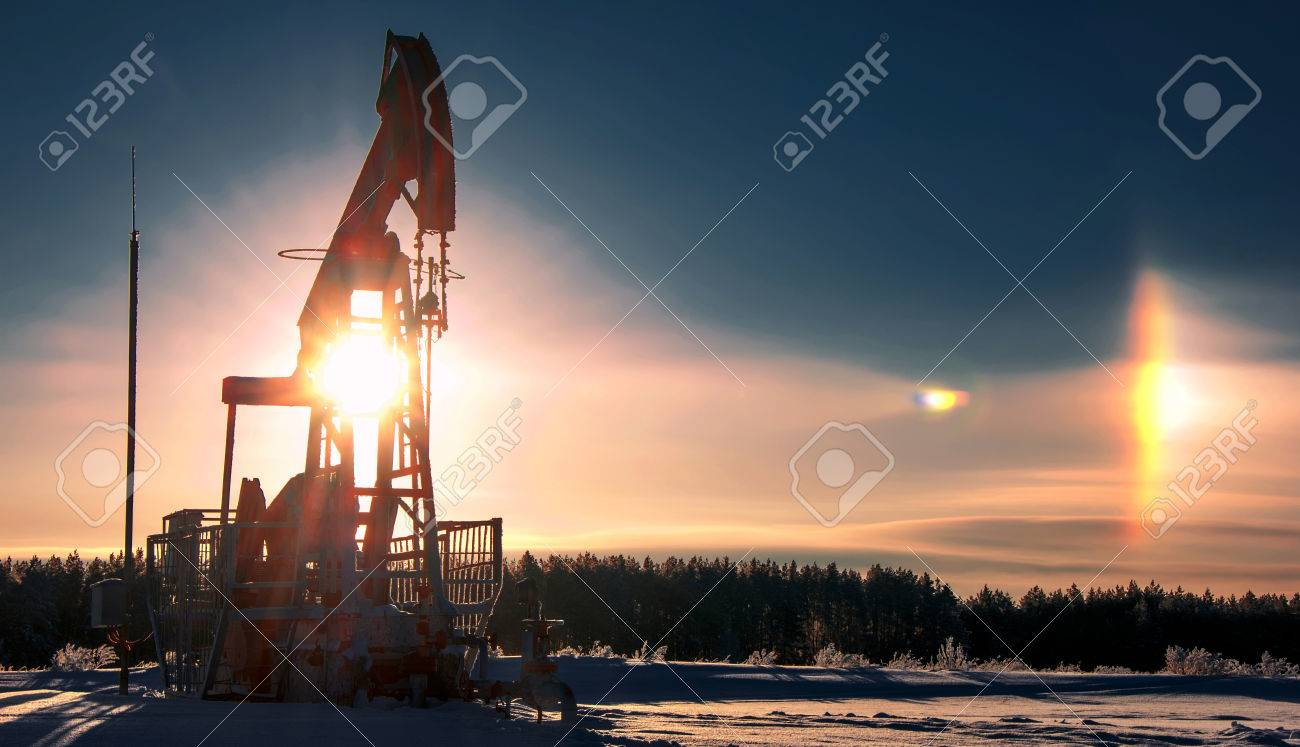 rocking oil. Oil pumps. Oil industry equipment. wheat field Stock Photo - 42355117