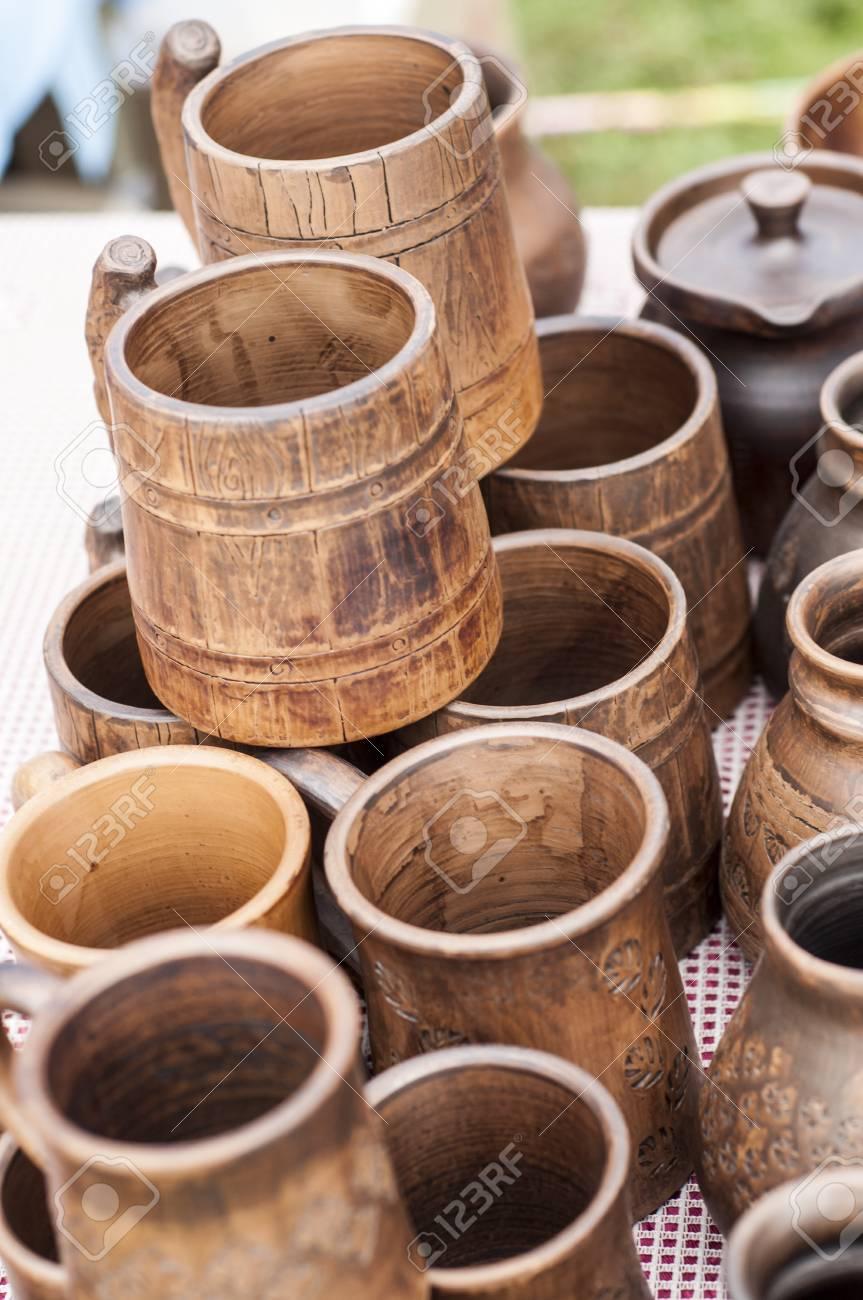 Töpferwaren Steingut Tonwaren Geschirr Steinzeug Ein Großer