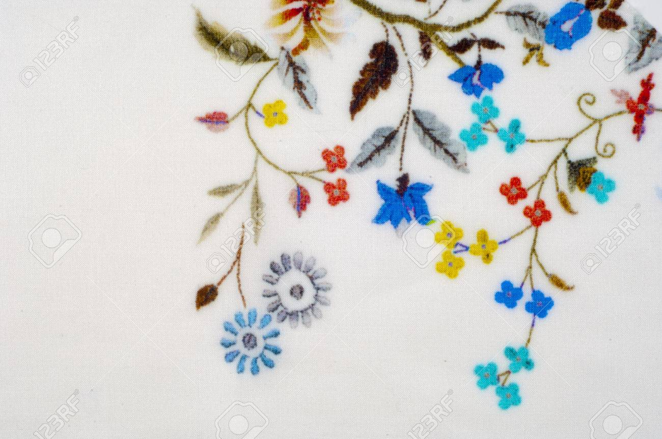 Textura, Fondo, Tela De Algodón Blanco. Con Flores Bordado ...