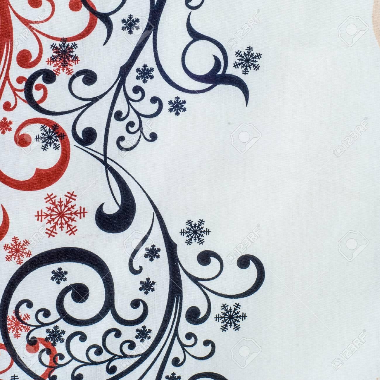 Texture Fond Tissu Coton Noir Blanc Rouge Dessin Givré