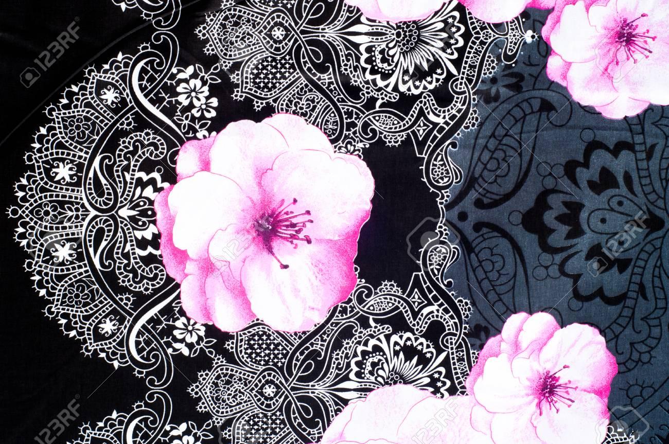 Textur Hintergrund Stoff Baumwolle Bettwäsche Weiße Rosen Auf