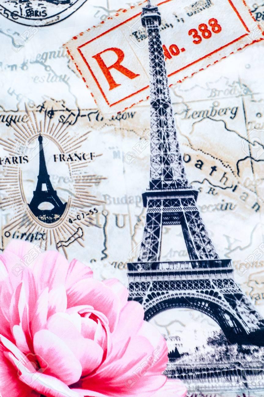 Texture, background. Fabric cotton bed linen. Eifel. With a picture of Paris, rose flower, city maps Paris Stock Photo - 44666917
