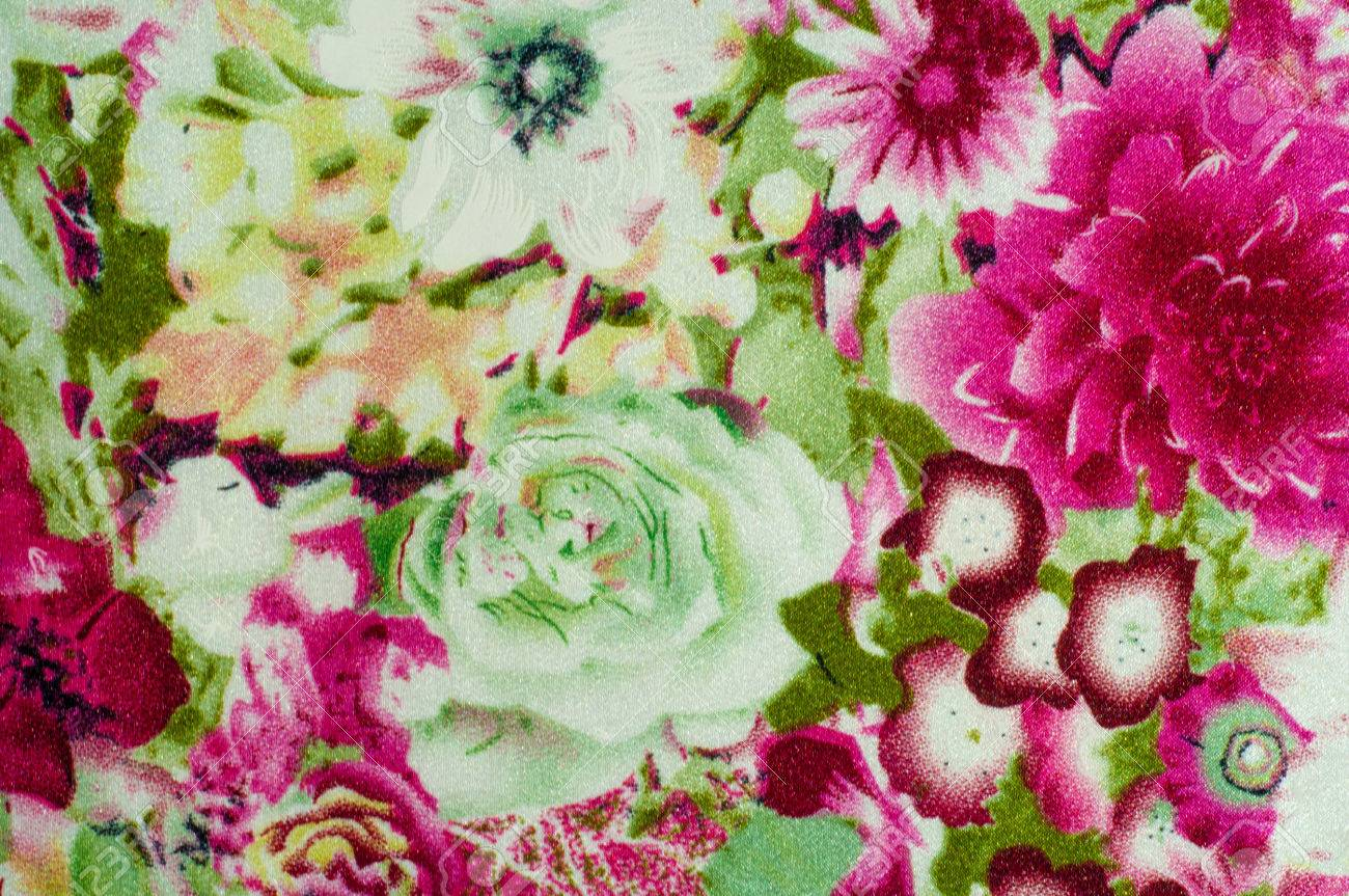 Fabric Silk Roses With Painted Flowers White And Red Stock Photo