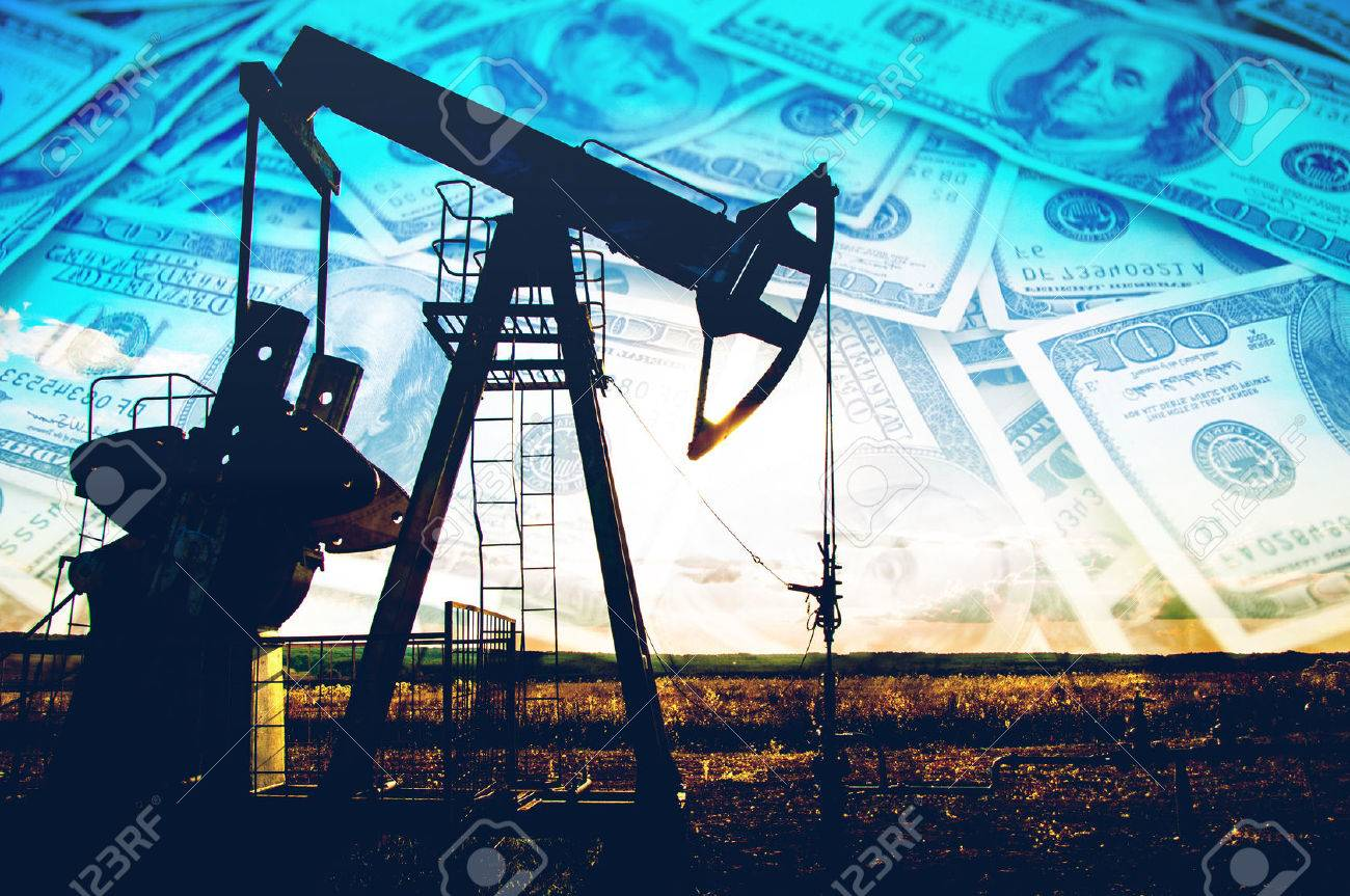 oil pump. Oil industry equipment. filtered picture of oil pump jack. Oil and gas industry. Work of oil pump jack on a oil field. Stock Photo - 49644789