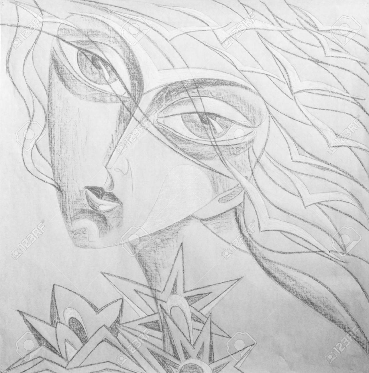 Pencil Drawing On White Paper The Bird Girl Fantasy Portrait