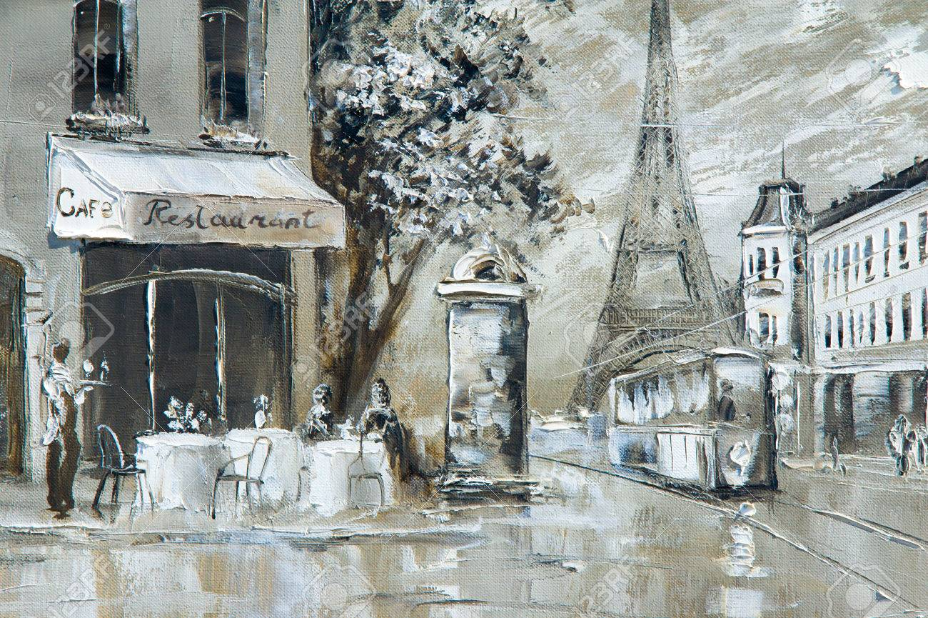 Texture, background. Painting on canvas painted with oil paints. The picture painted scenes from the life of the city of Paris Stock Photo - 61350109