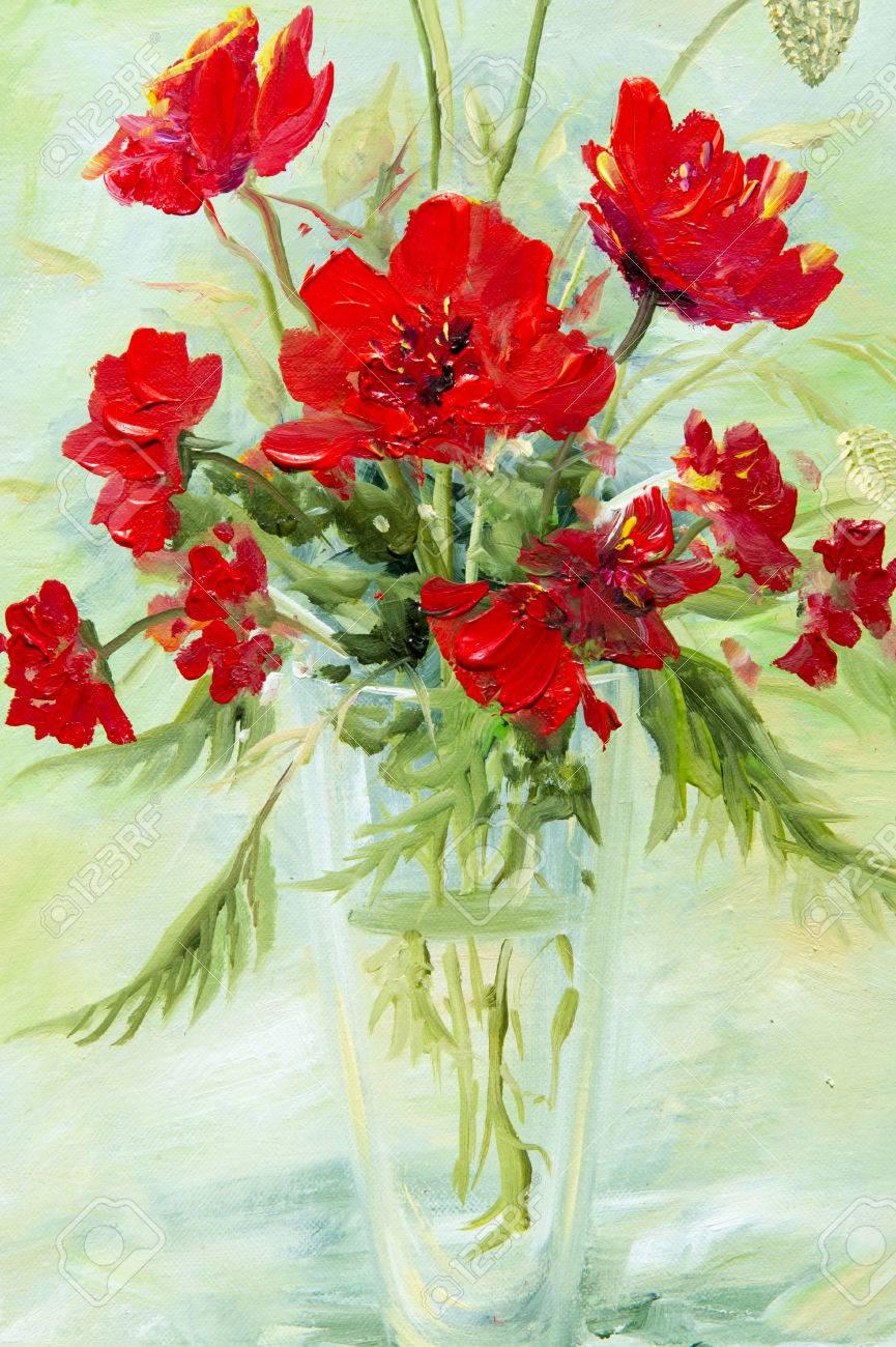 Il A Brossé Un Tableau De Fleurs Sauvages Un Rouge Recueilli Dans Un Bouquet.  Fleurs Sauvages Sont Dans Un Vase. Un Bouquet De Fleurs Joliment Disposées,