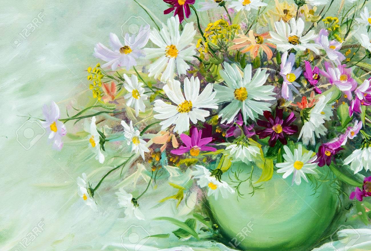 Il a brossé un tableau de fleurs sauvages recueillis dans un bouquet. Fleurs  sauvages sont dans un vase. un bouquet de fleurs joliment