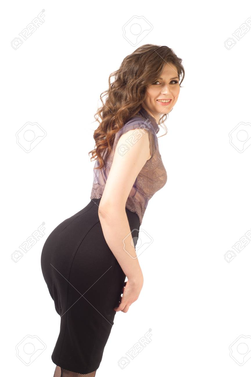 Very Beautiful Girl Desirable Woman Brown Hair Big Ass Black Skirt Stock