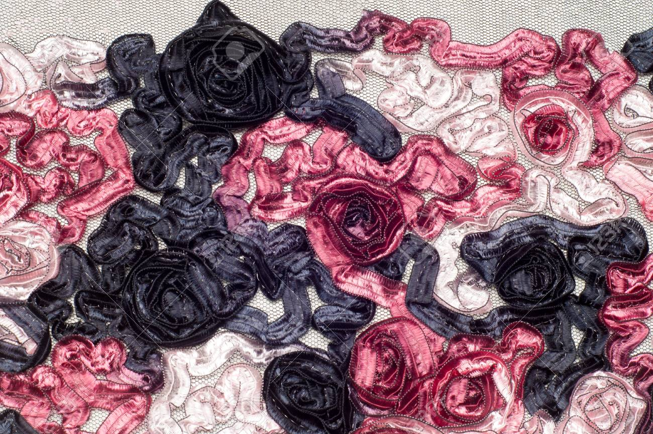 Texture Background Pattern Cloth Lace Embroidered Flowers Of