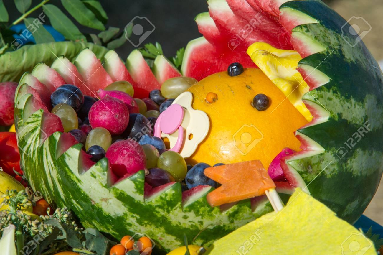 Super Hintergrundtextur Stilleben Von Gemüse, Baby Wiege, Wassermelone @TI_53