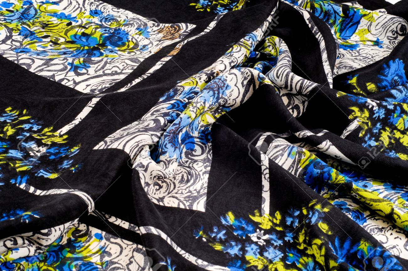 Texture Background Pattern Silk Fabric Blue Flowers On A