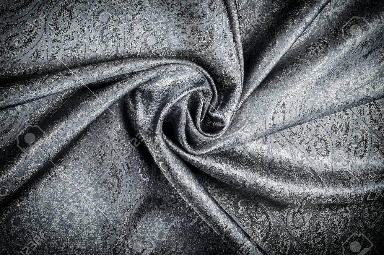 Tela De Jacquard Negro Paisley-silk