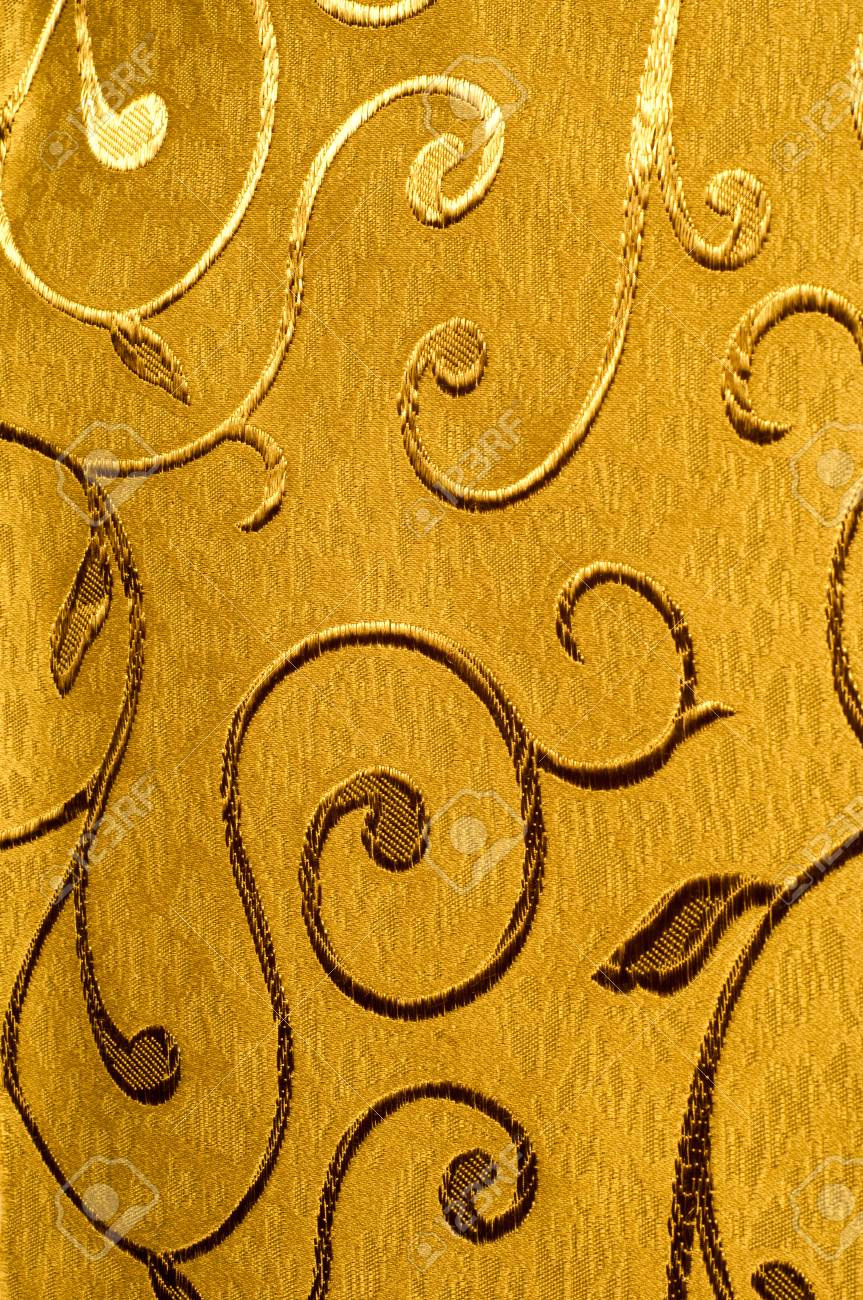 Damask Fabric With Shiny Patterns On A Matte Background Golden Color Abstract Pattern Luxury Wallpaper Vintage Wave