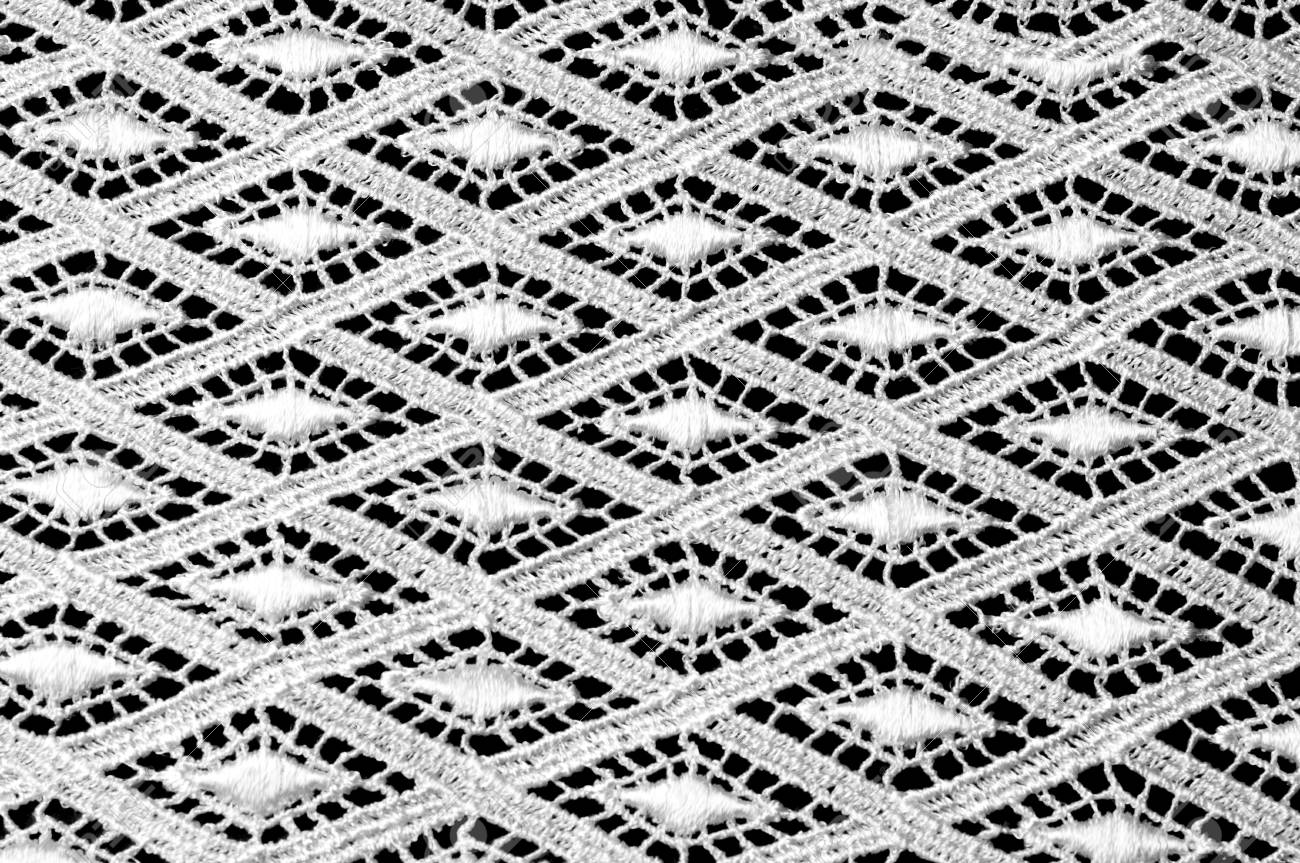 Texture Background Pattern Lacy White Fabric Hand Lace On A White