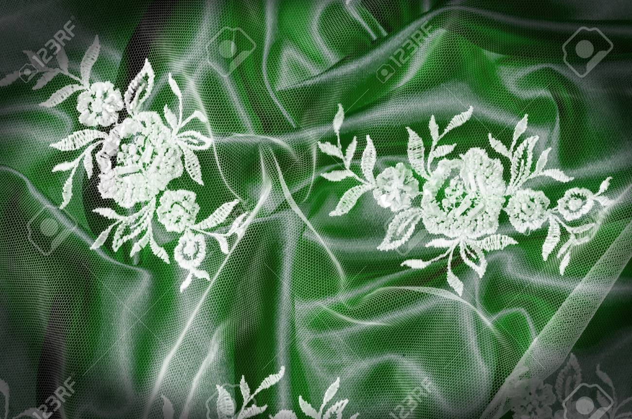 Texture Background Pattern Lacy White Fabric Flowers Made