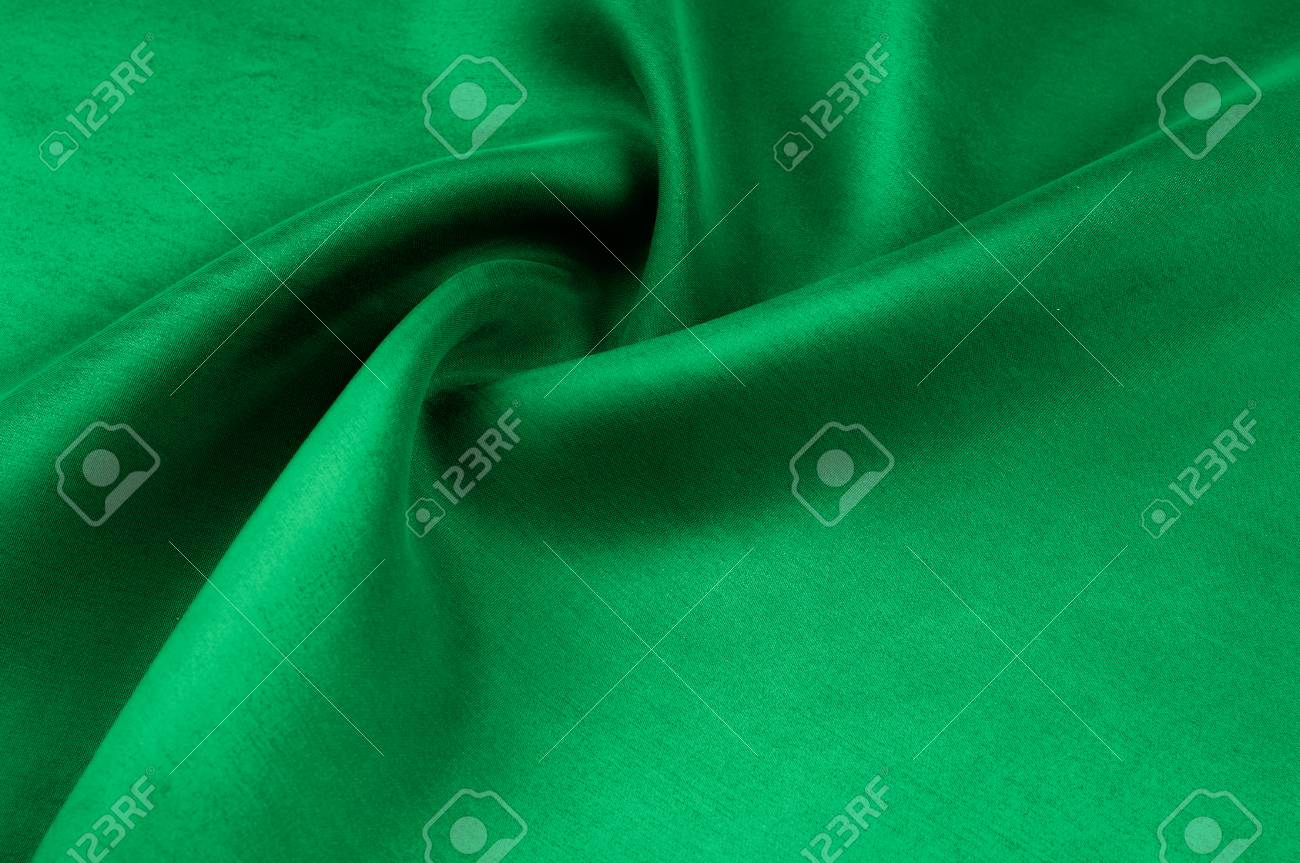 background texture pattern thick thick silk fabric is green