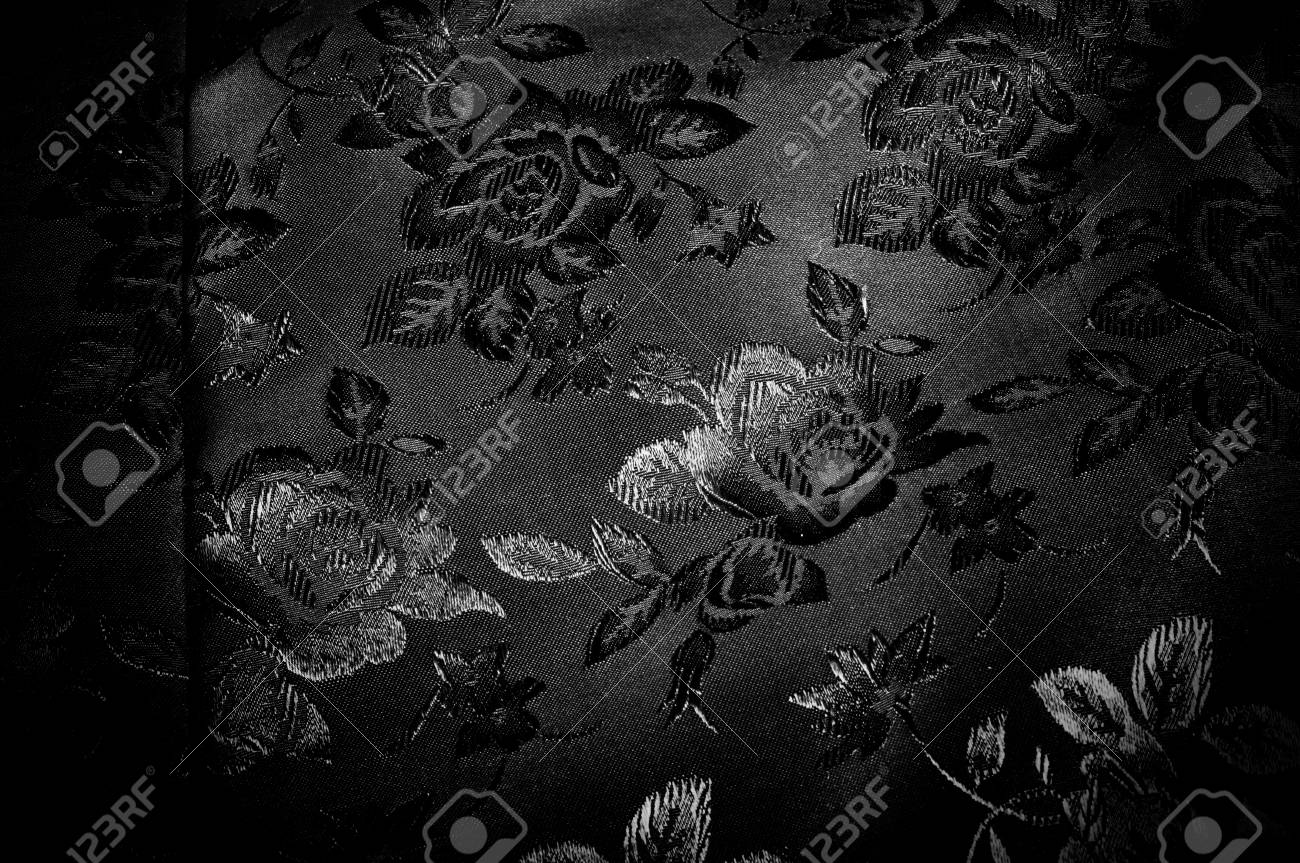 Fabric Background Texture Silk Black Fabric With A Pattern Of