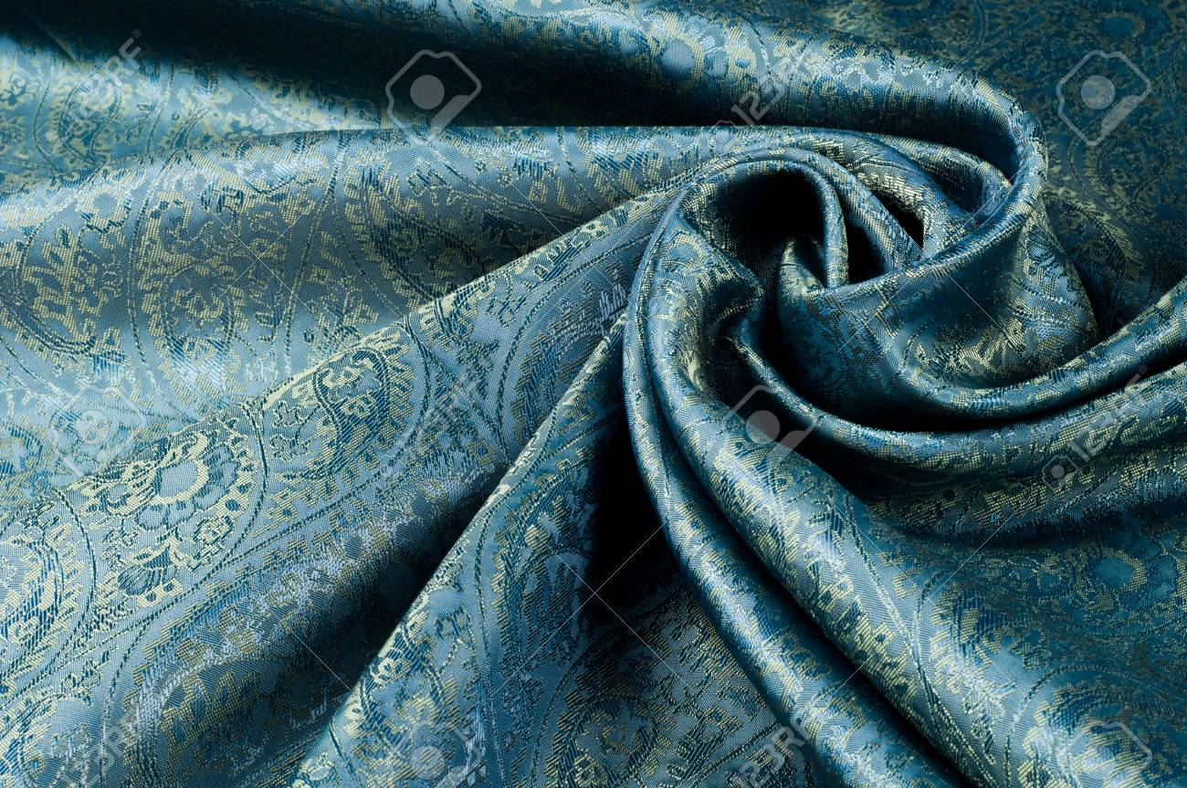Background texture, pattern. 青 paisley silk chiffon mod fabric by the yard. Crinkled, flowy, soft, very light,
