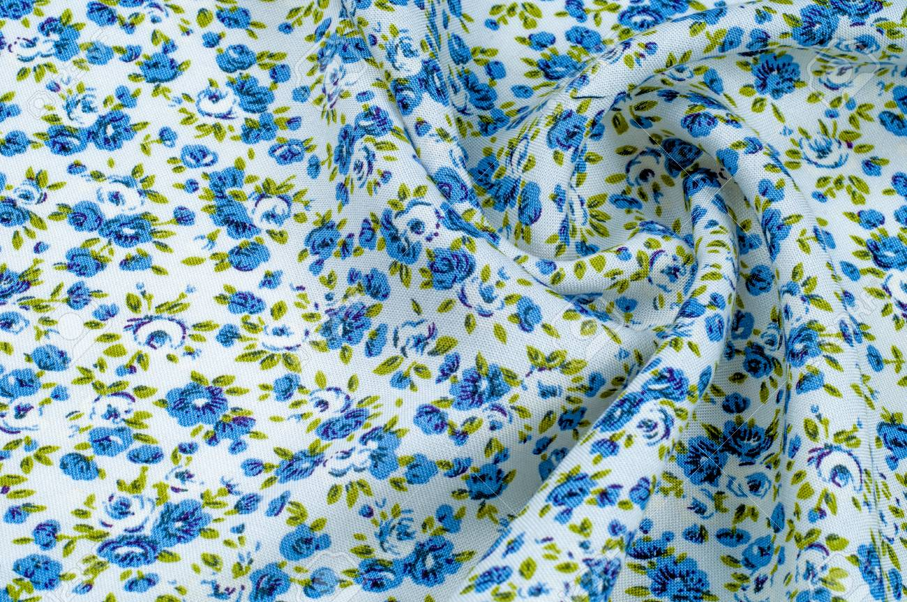 Background Texture Pattern Thin Cotton Fabric With Small Blue