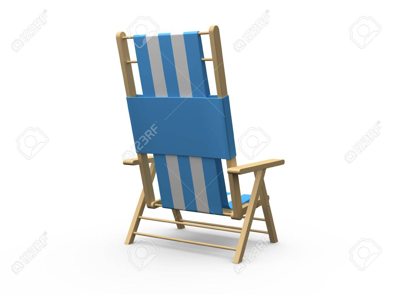 Wooden beach chair back - Blue And White Wooden Beach Chair Back View Isolated On White Background Stock