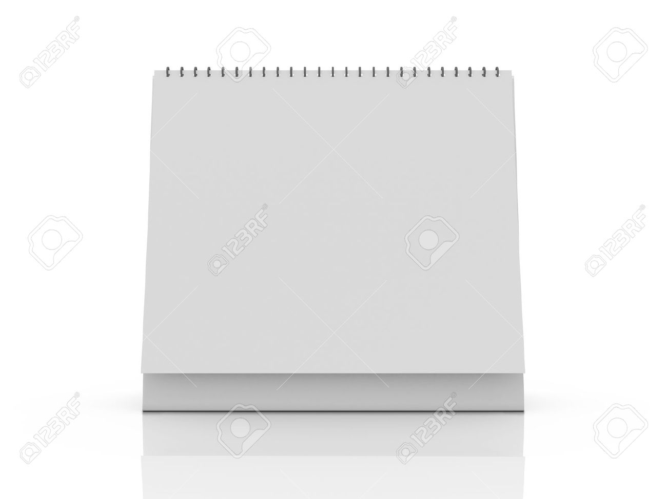 Blank desk calendar with reflection, front view, isolated on white background. Stock Photo - 22591630