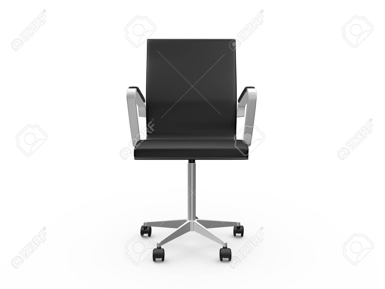 Black Leather Boss Chair For Office, Front View, Isolated On White  Background. Stock