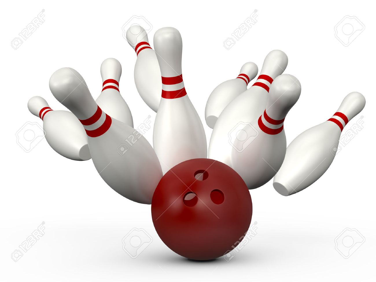 Red Bowling Ball Crashes Into The Bowling Pins With Red Stripes