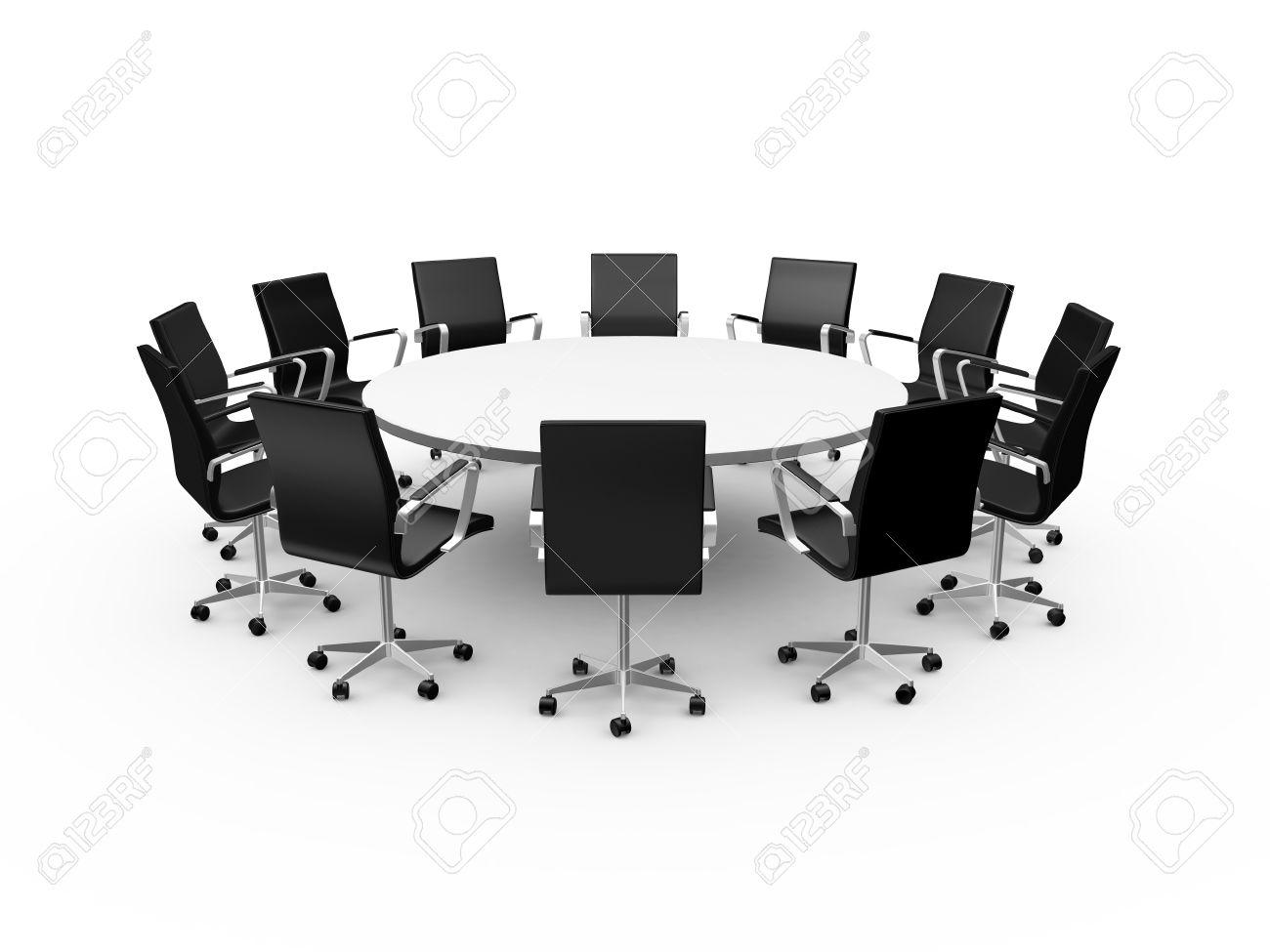 Conférence table ronde et des chaises de bureau noir dans la salle
