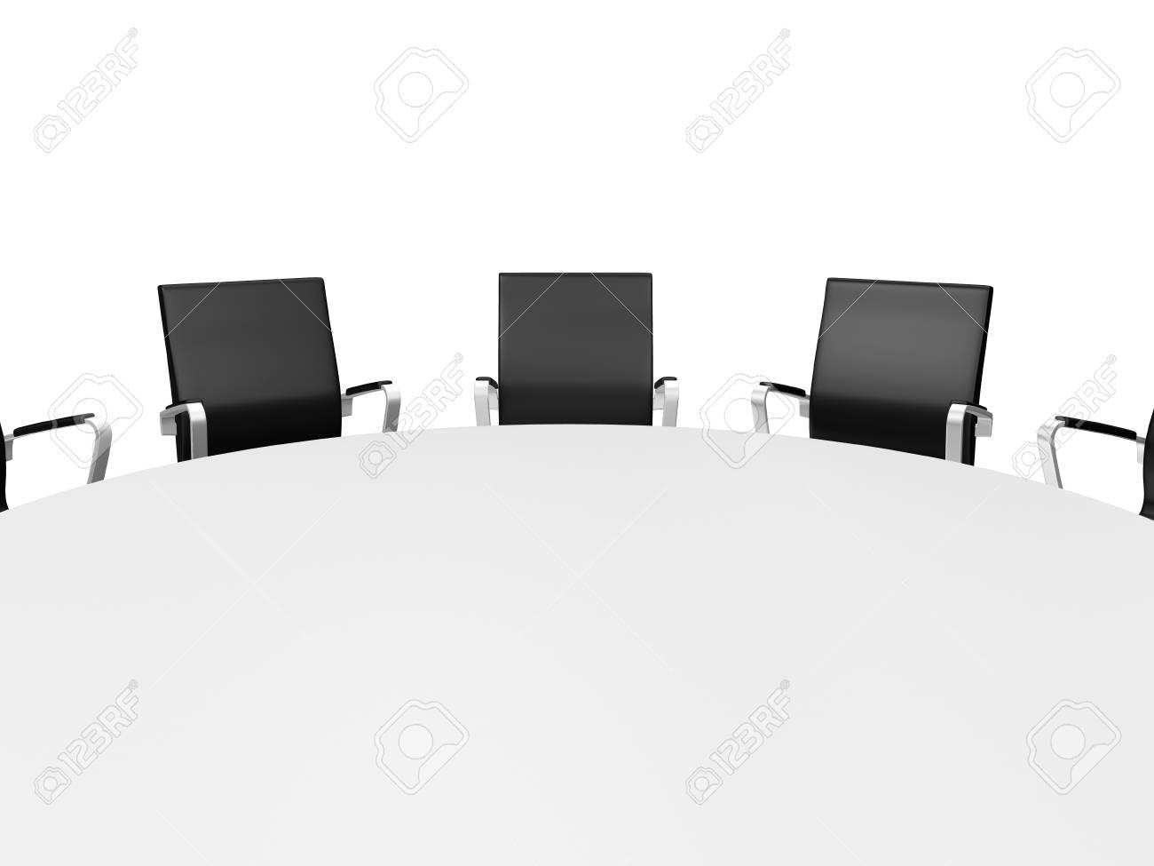 Fermer Conference Table Ronde Et Des Chaises De Bureau Noir Dans La