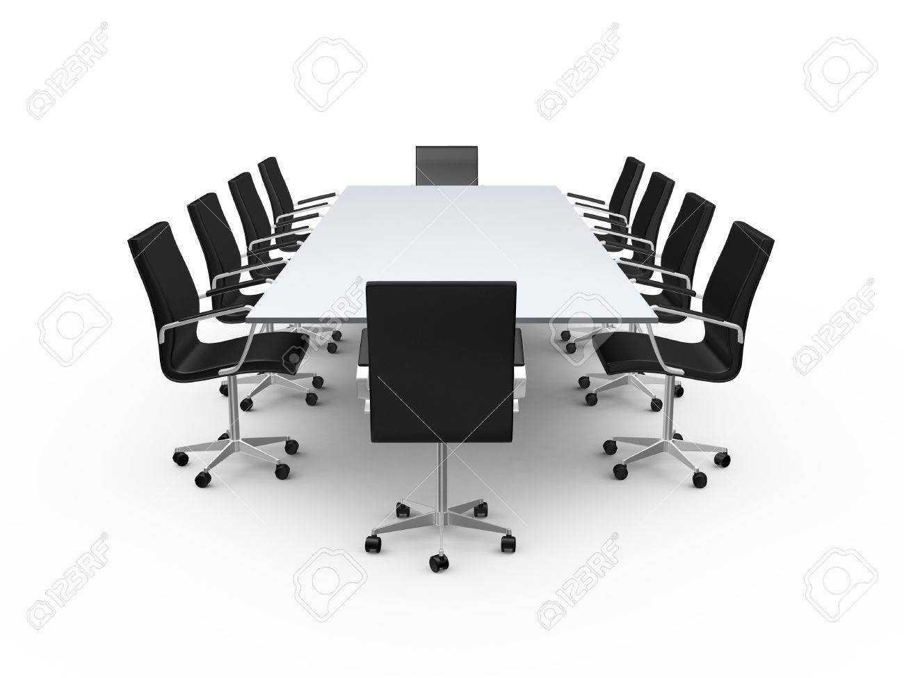 Conference table and black office chairs in meeting room, isolated..