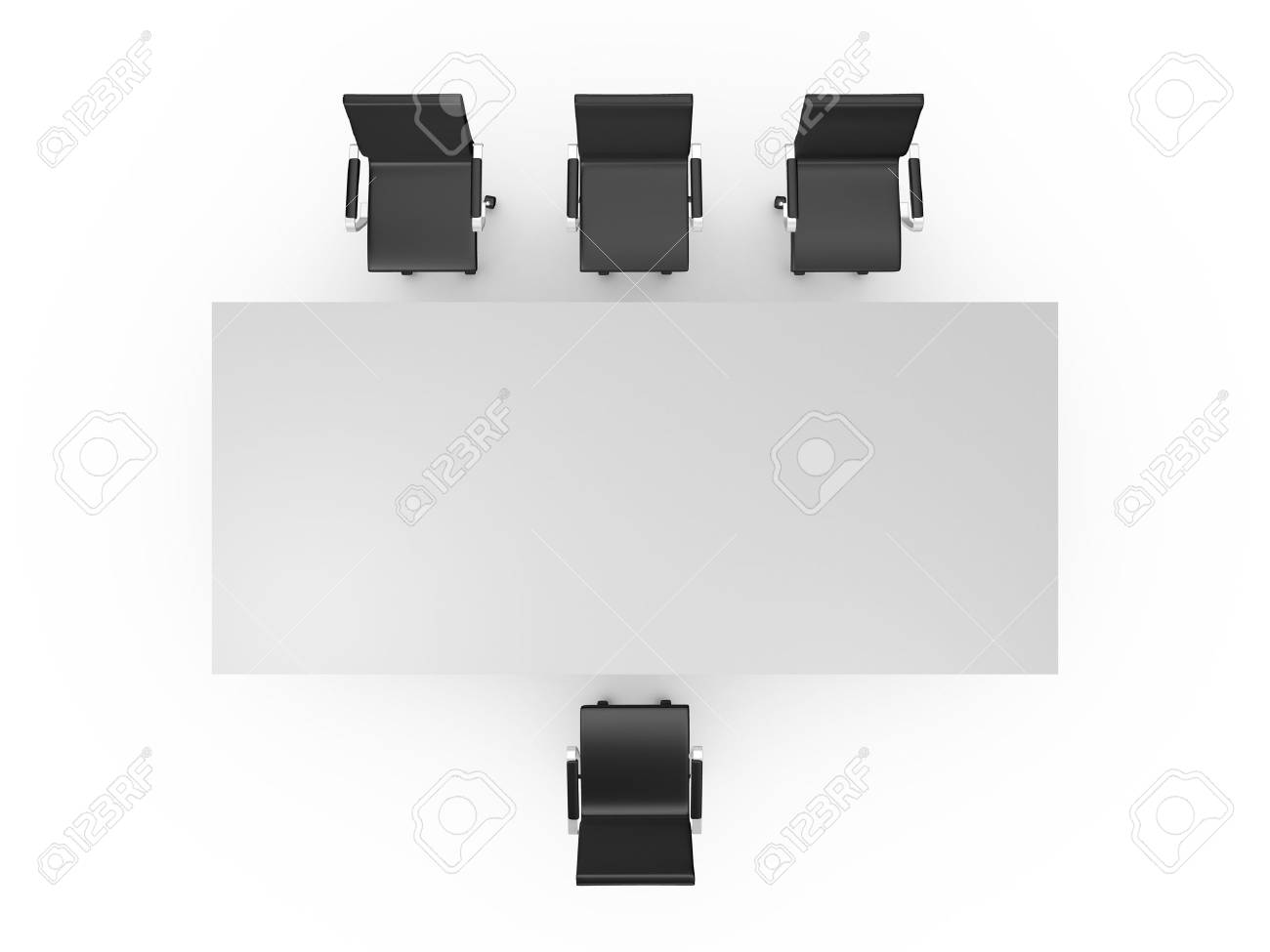 table and chairs top view. Conference Table And Black Office Chairs In Meeting Room, Top View, Isolated On White View R