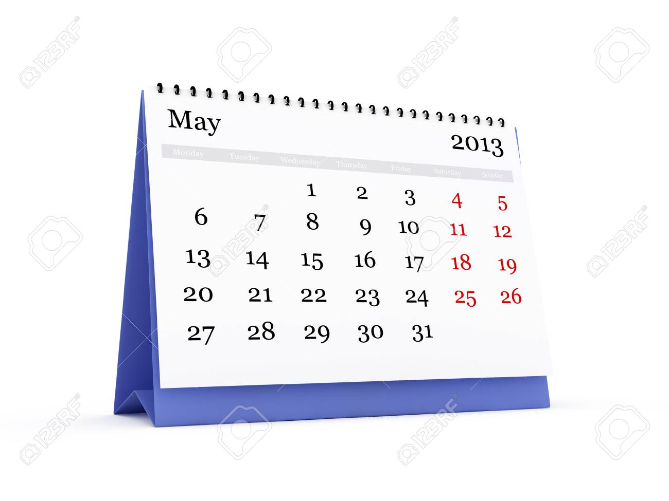 desk calendar may month 2013 year isolated on white background