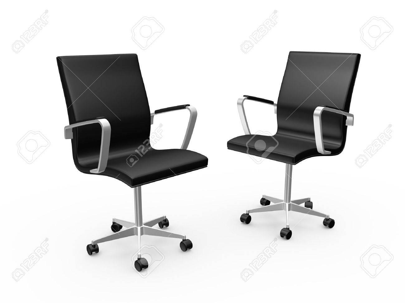 Stock Photo   Two Black Leather Boss Chairs For Office, Isolated On White  Background.