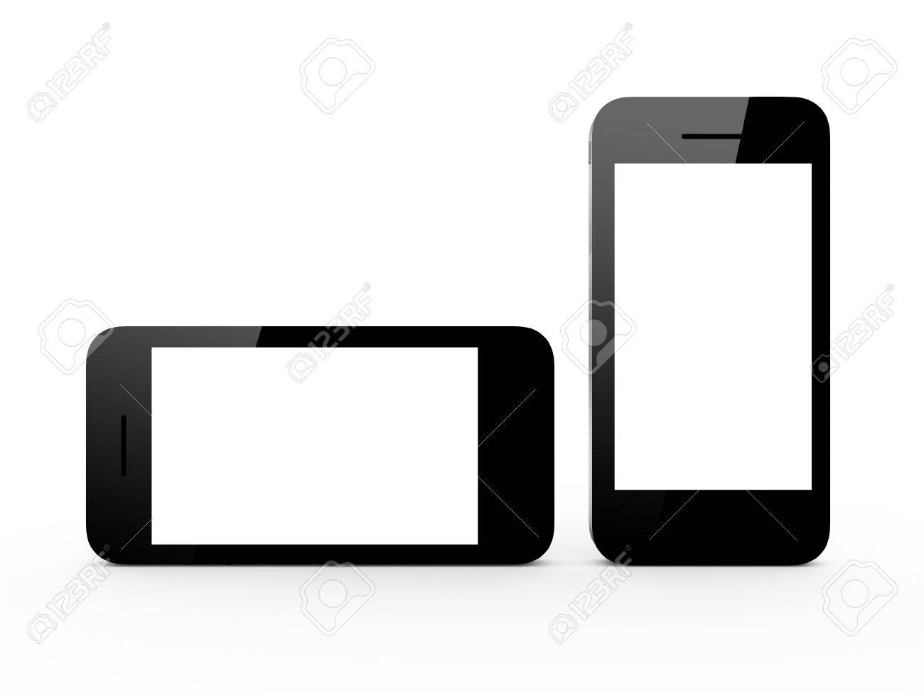 Realistic Mobile Phone Device With Blank Touch Screen With Black ...