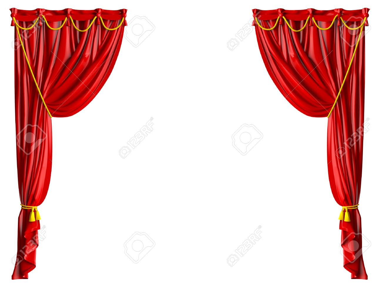 Royalty free or white curtain background drapes royalty free stock - Red Shiny Theater Curtains And Yellow Ropes Isolated On White Background Stock Photo