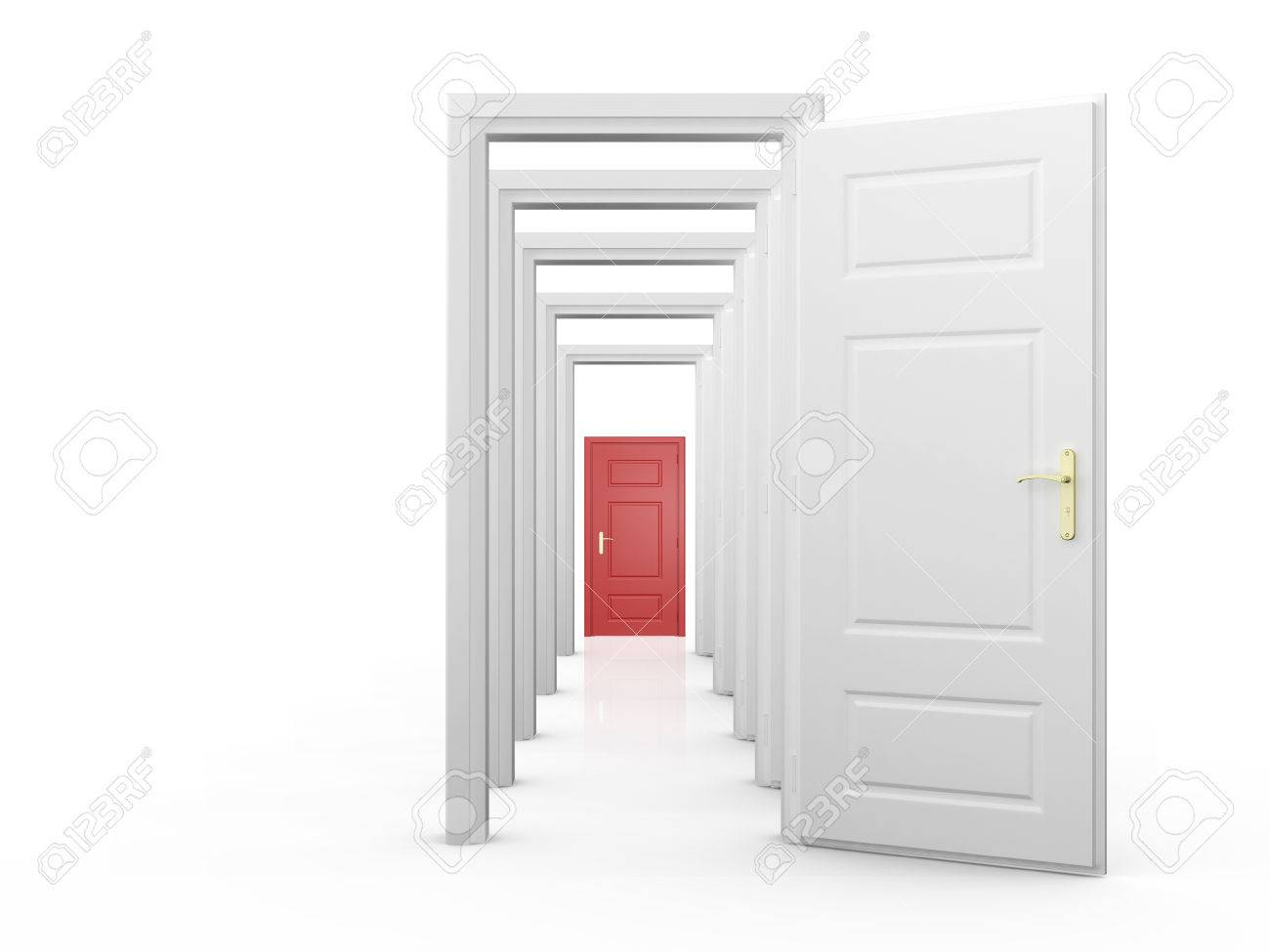 Open door closed door - Red Closed Door Behind Open Doors Isolated On White Background Stock Photo 22594545
