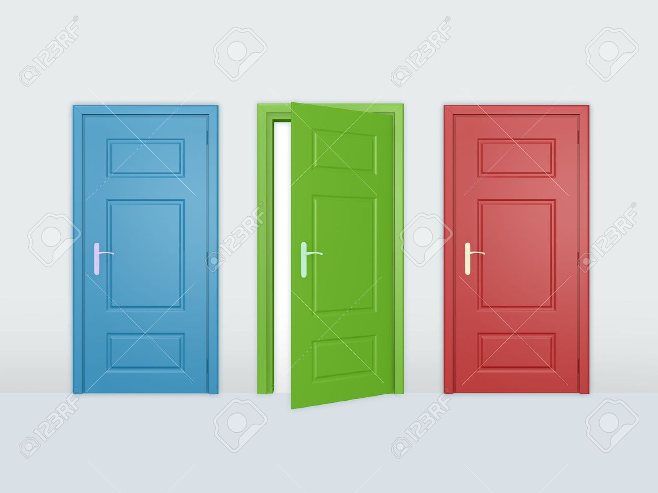One Open Door And Two Closed Doors Stock Photo Picture And Royalty