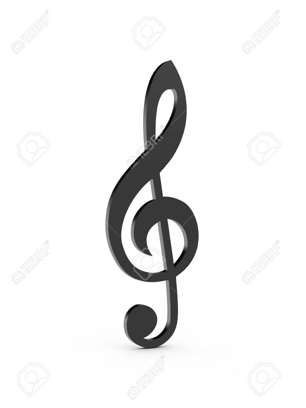 Note De Musique Clé De Sol Noir Isolé Sur Fond Blanc Banque D