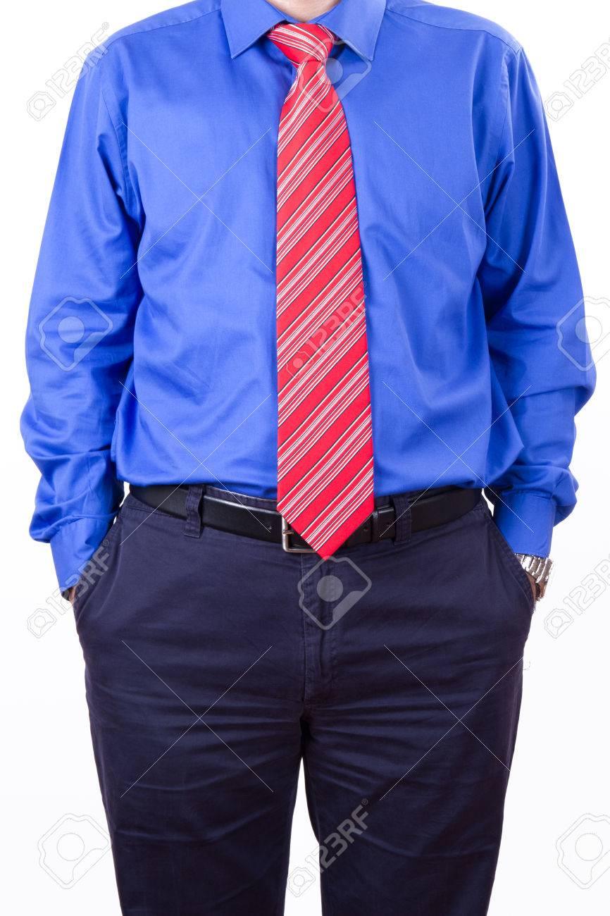 Businessman with red tie and blue shirt like boss standing in businessman with red tie and blue shirt like boss standing in confidence isolated on white ccuart Image collections