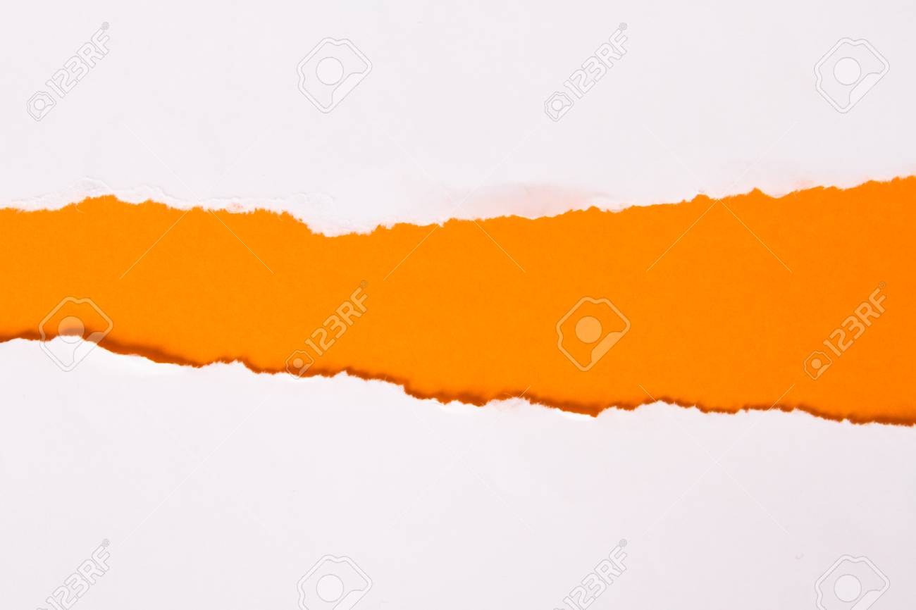 Teared, ripped paper on orange background. Stock Photo - 22627683