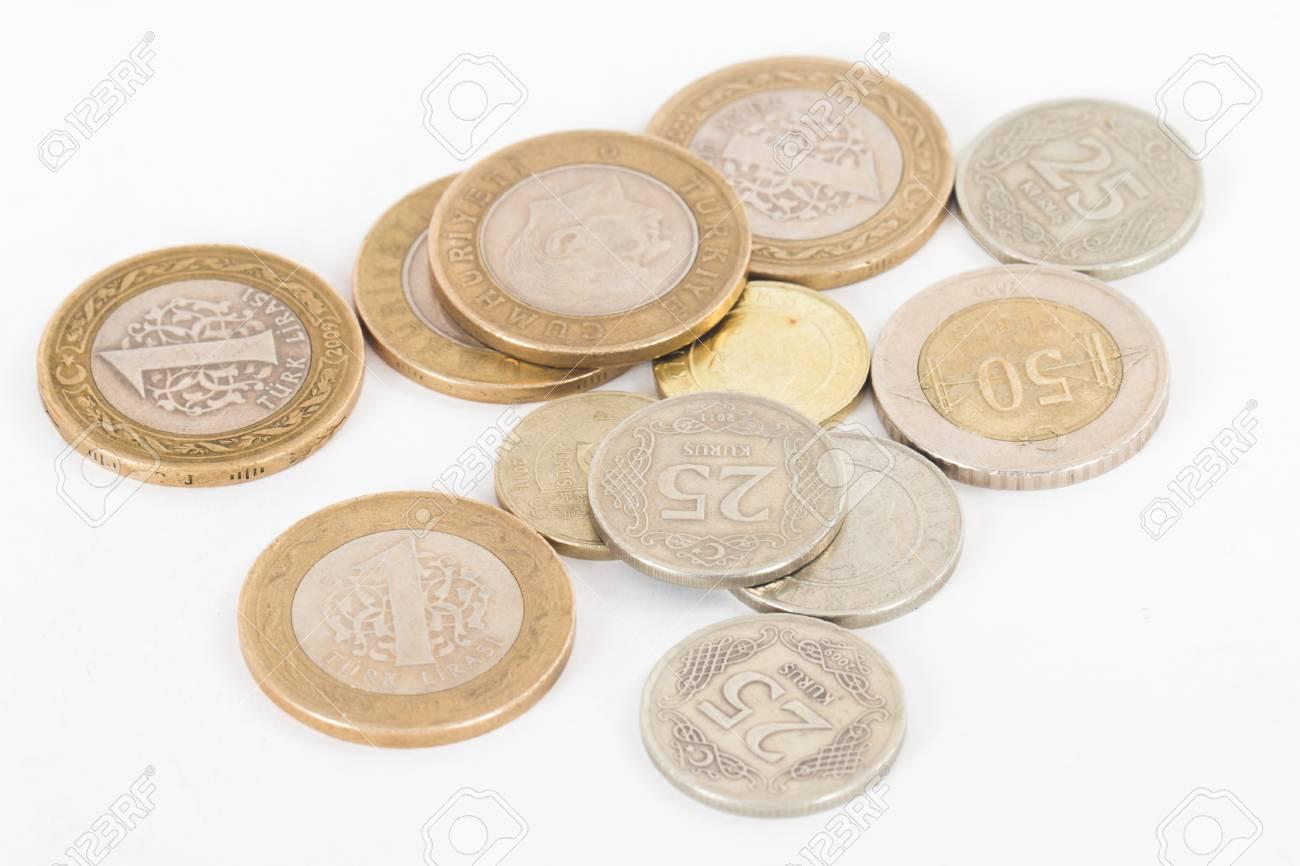 Türkische Lira Münzen Isoliert Auf Weißem Hintergrund Lizenzfreie