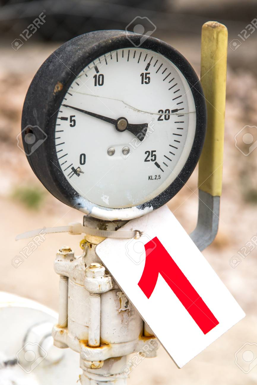 Old barometer on number one label with depth of field. Stock Photo - 22721762