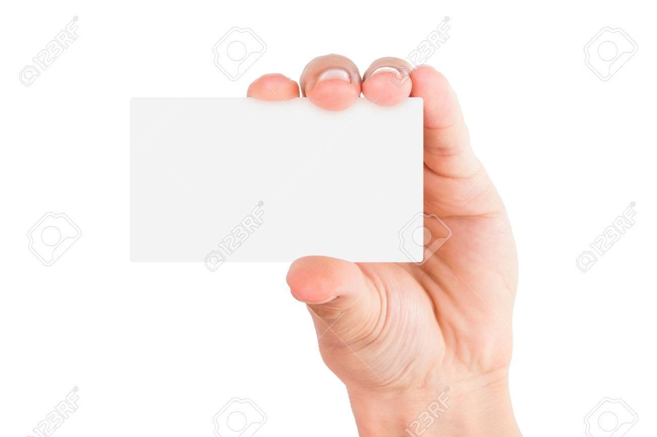 Tenant La Main Vide Carte De Visite Blanc Isol Sur Banque D