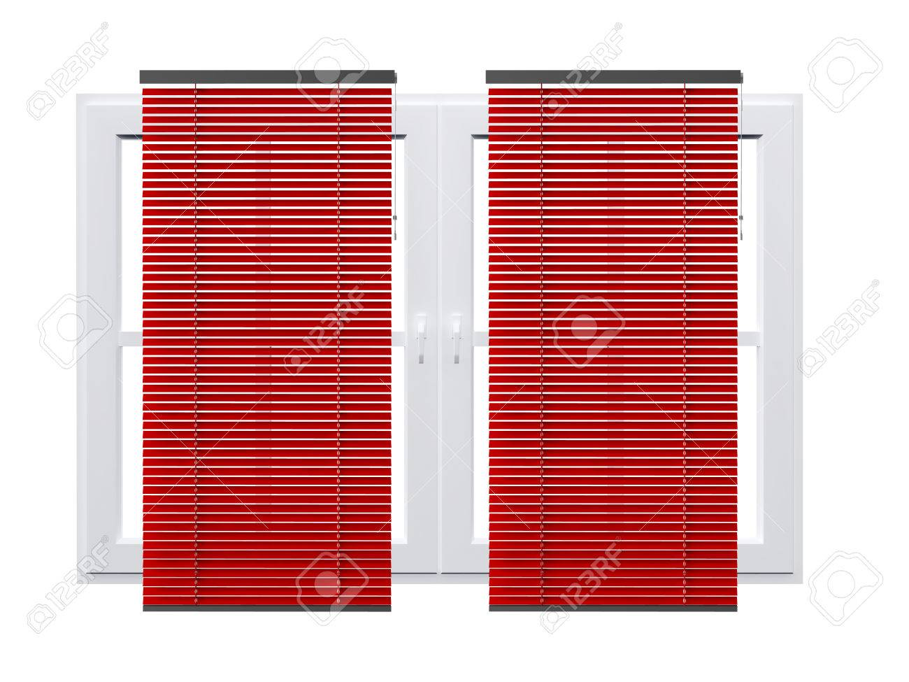 Red Striped Curtains On Closed Windows Isolated White Stock Photo