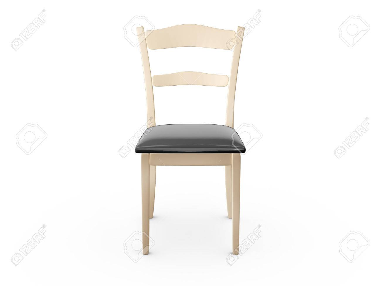 Wooden chair front view - Front View Of Wooden Chair Isolated On White Stock Photo 24710426