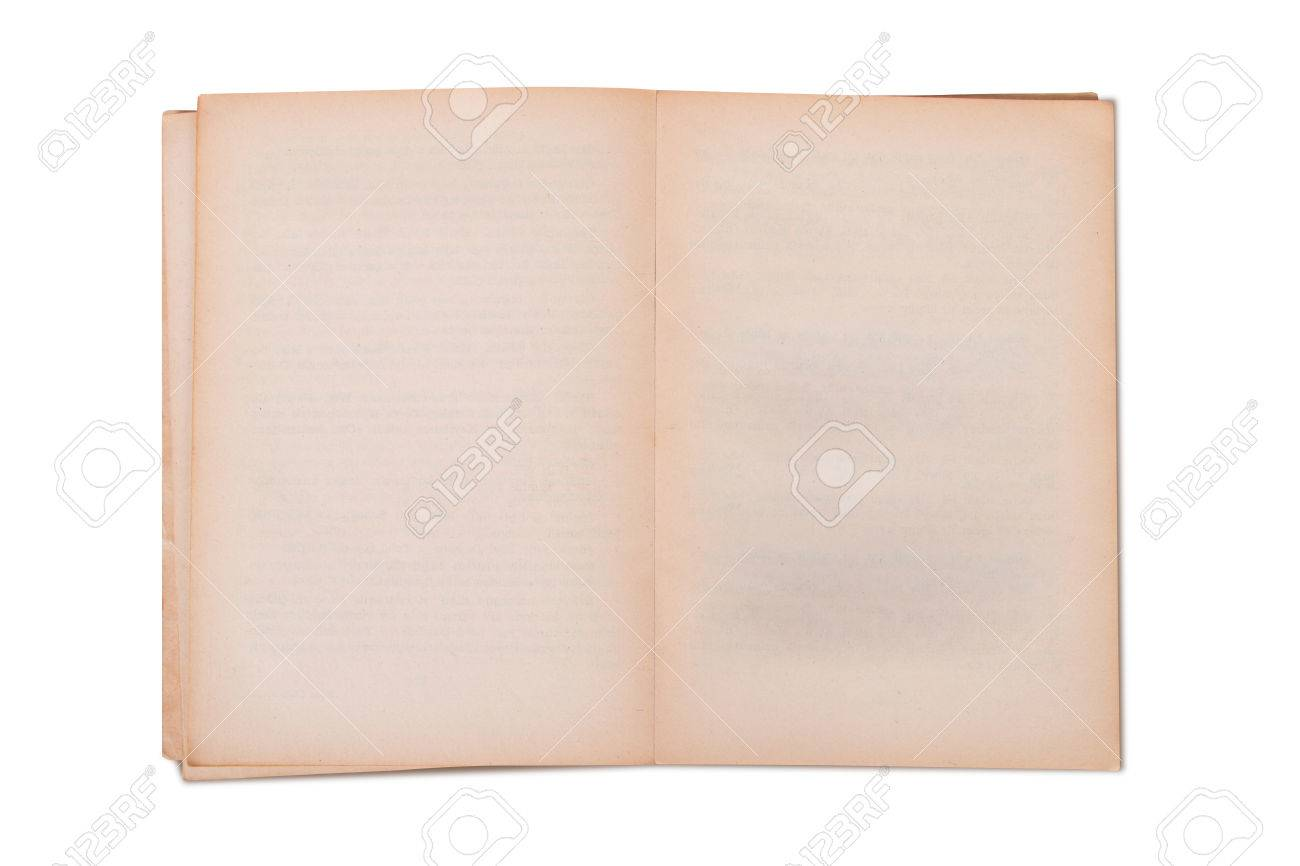 blank old open book template mock up isolated on white background