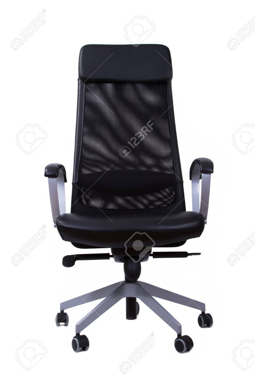 Front View Of Black And Comfortable Leather Boss Seat, Isolated On White  Background. Stock