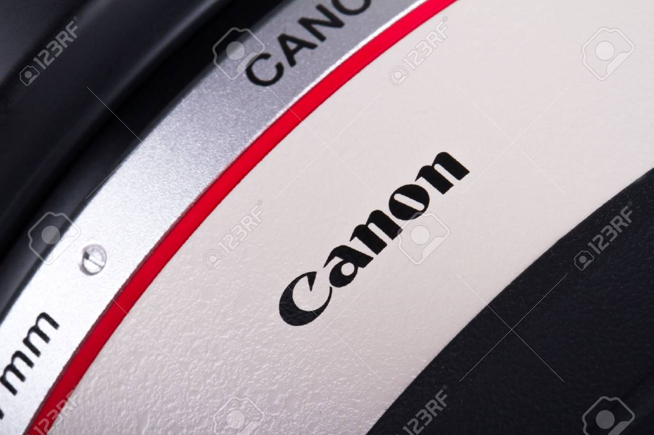 ISTANBUL, TURKEY - MAY 19, 2014: The logo of the brand Canon on lens. Stock Photo - 29853106