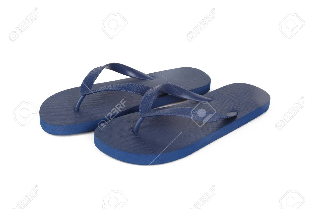 29418c914 Close up detailed front view of dark blue plastic flip flops slippers  isolated on white background